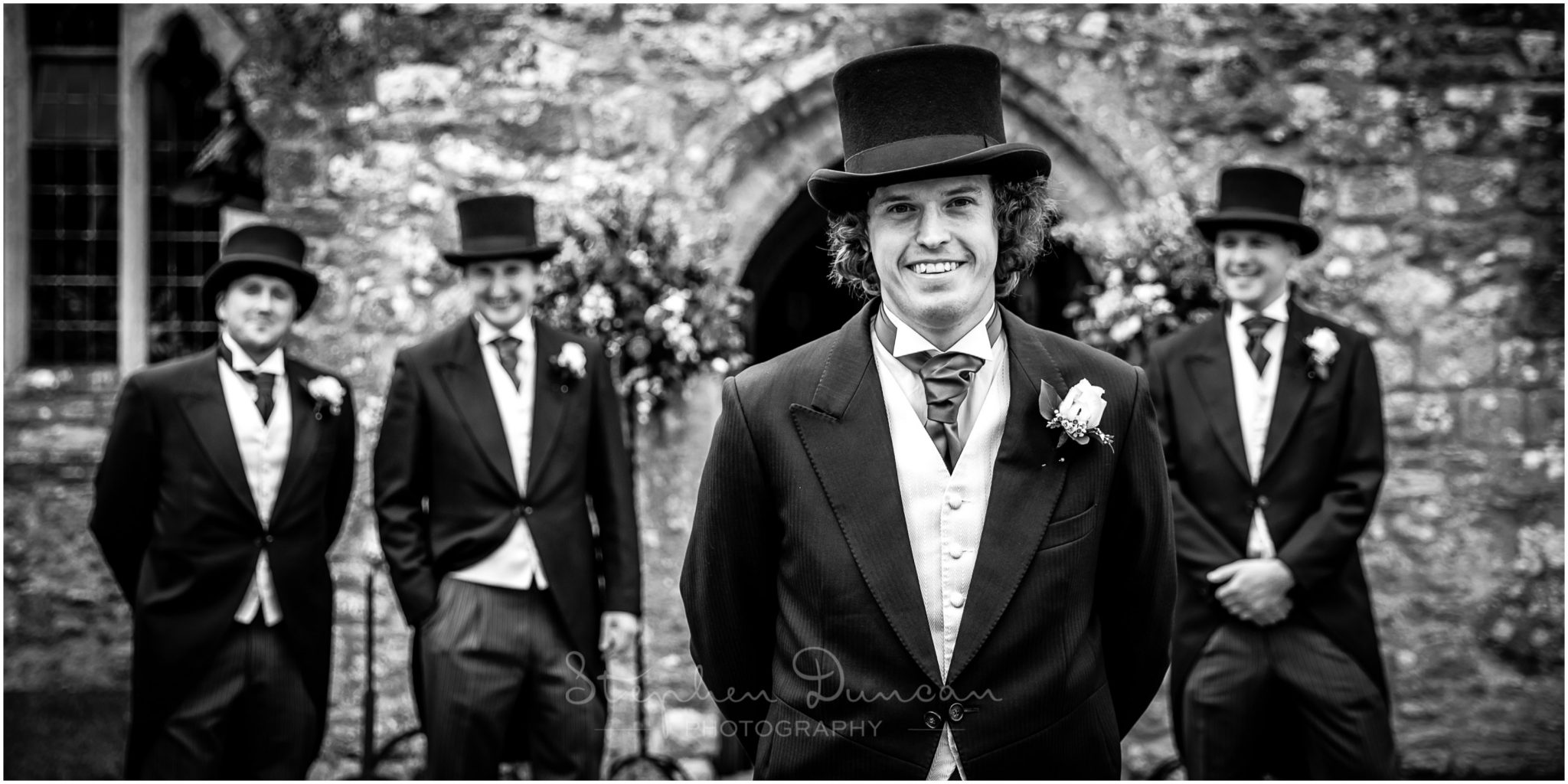 Lymington wedding photography black and white groom portrait with groomsmen