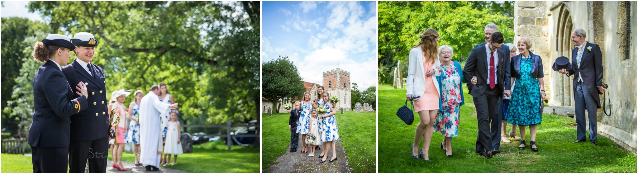 Lymington wedding photography friends and family arriving at church