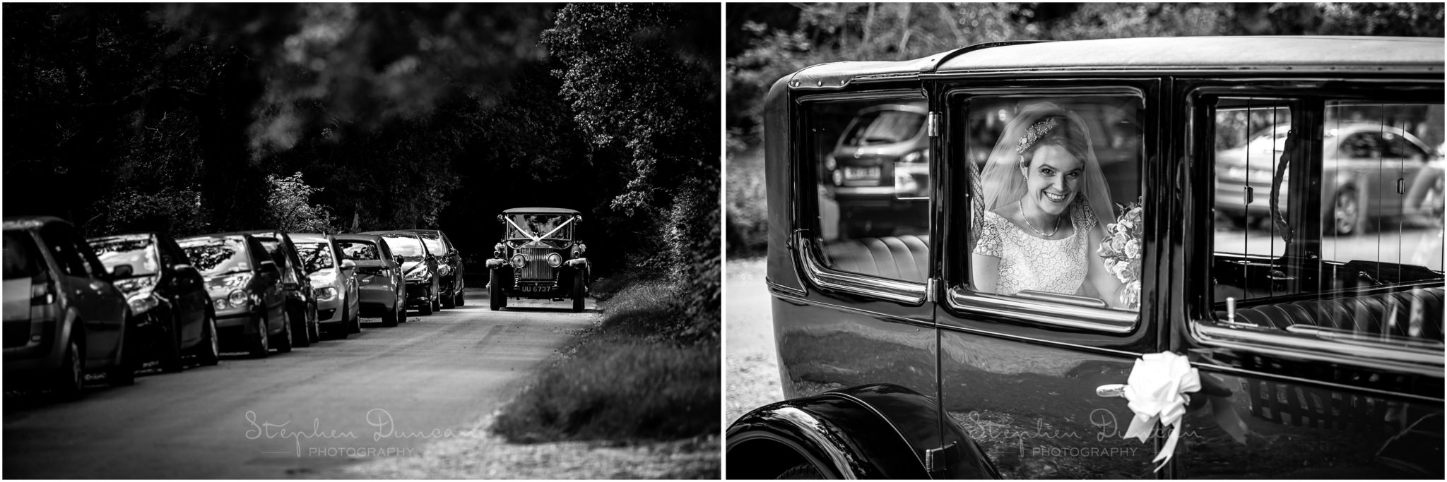 Lymington wedding photography black and white photos of wedding car with bride