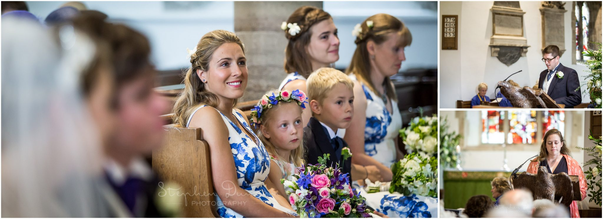 Lymington wedding photography bridesmaids watching readings