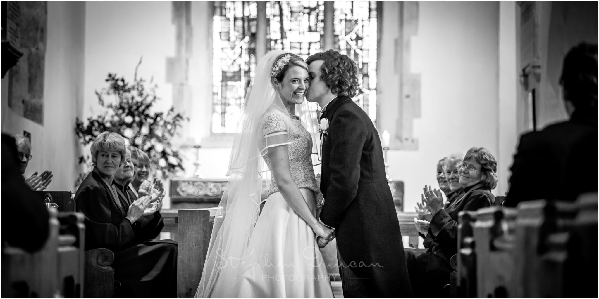 Lymington wedding photography the kiss