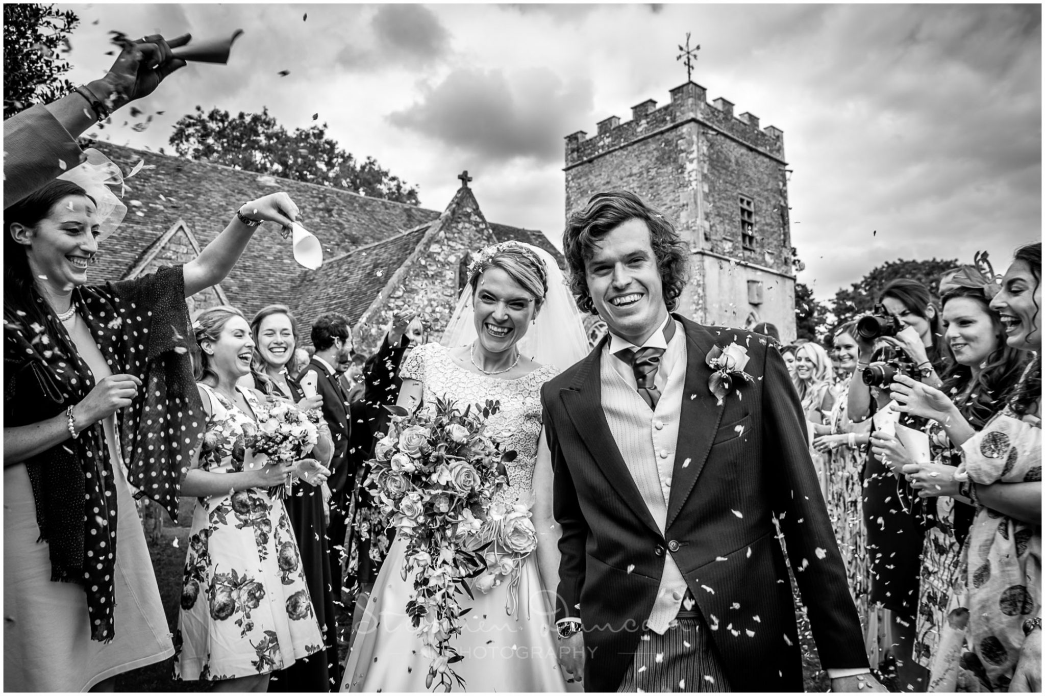Lymington wedding photography confetti outside church