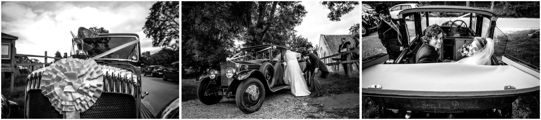 Lymington wedding photography couple in wedding car