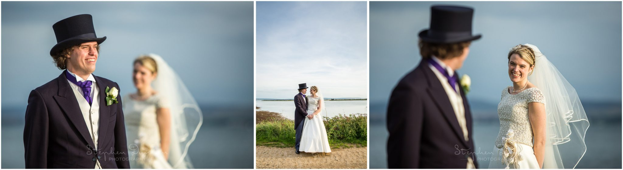Lymington wedding photography bride and groom portraits
