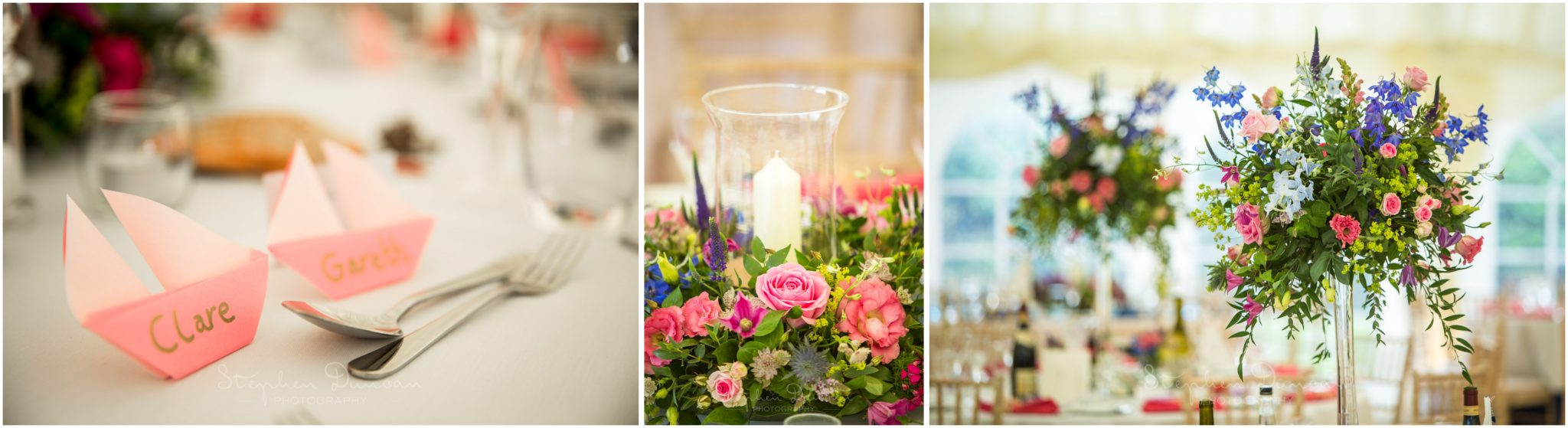 Lymington wedding photography reception marquee table details