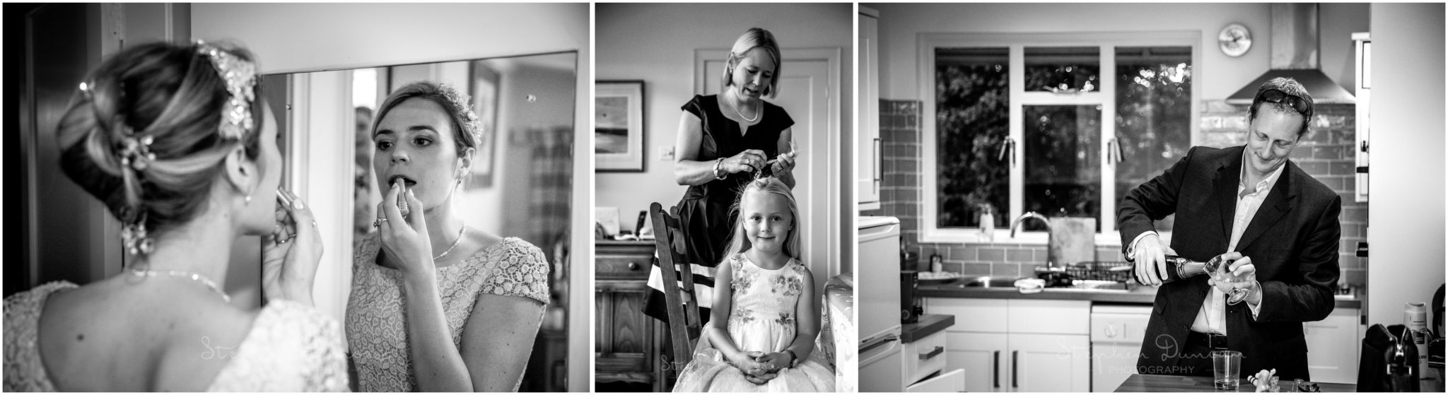 Lymington wedding photography black and white photos bridal prep