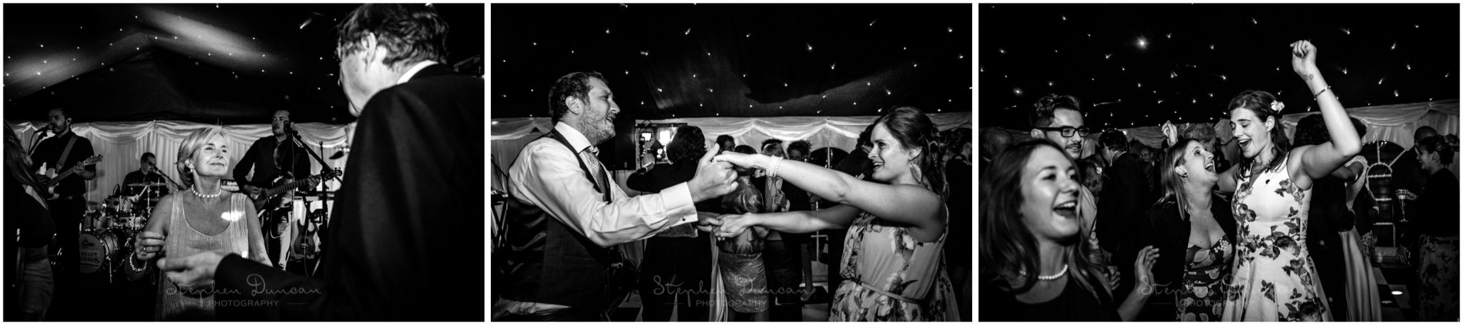 Lymington wedding photography guests on dancefloor