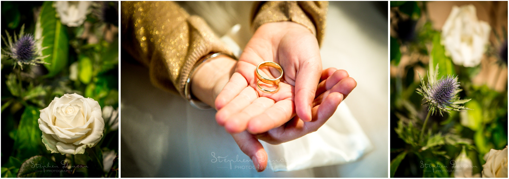 Romsey Abbey wedding photographer ring and flower details