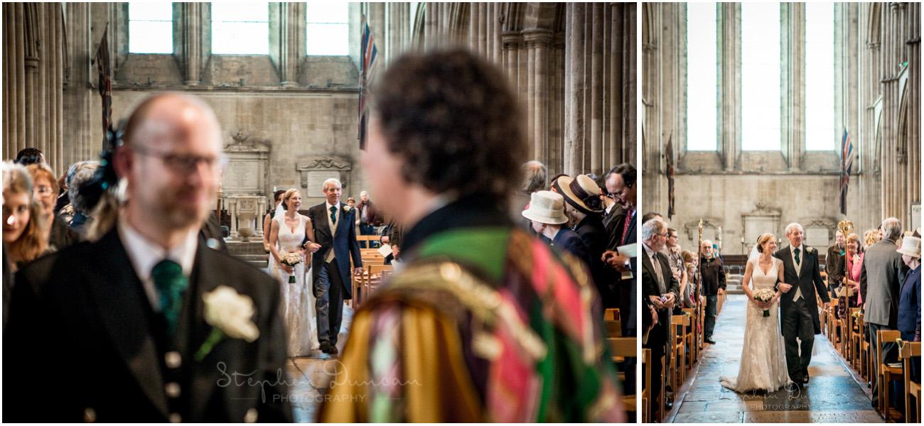 Romsey Abbey wedding photographer bride walking down aisle