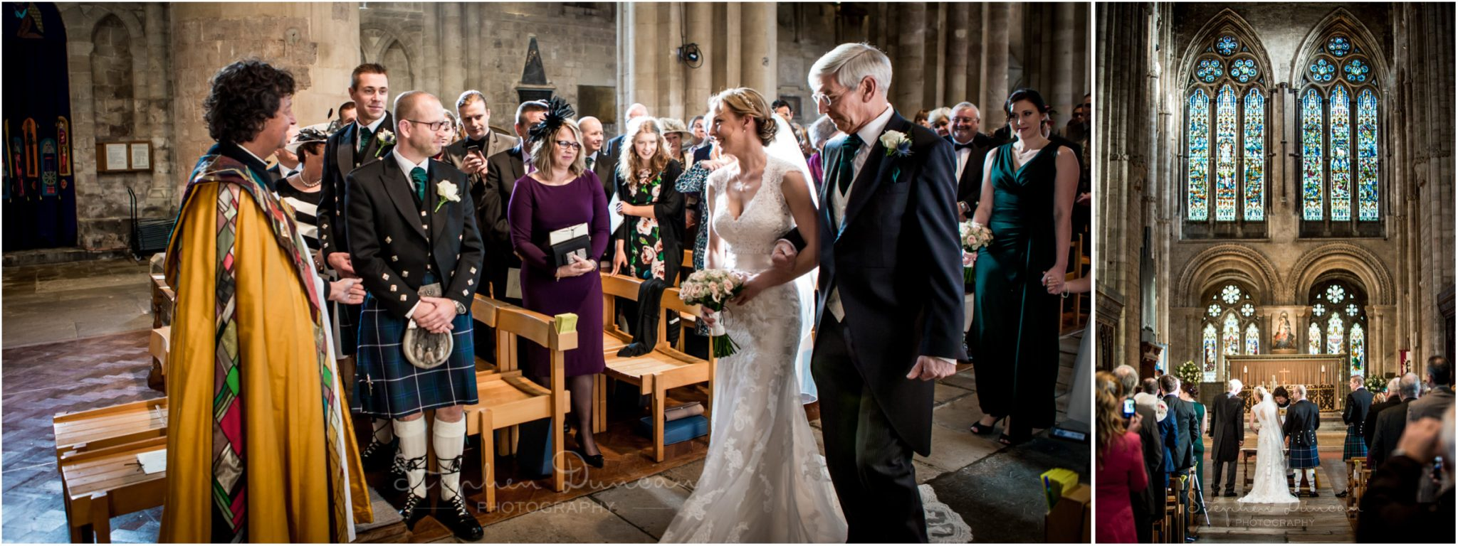 Romsey Abbey wedding photographer arrival of the bride