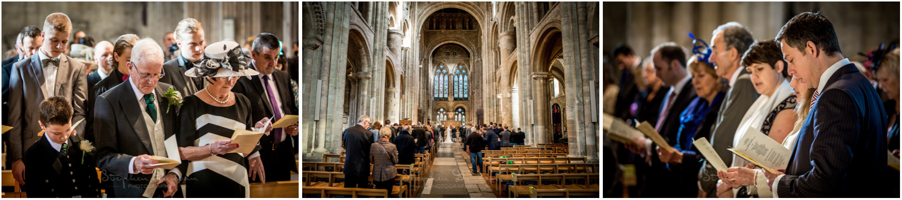 Romsey Abbey wedding photographer guests during service