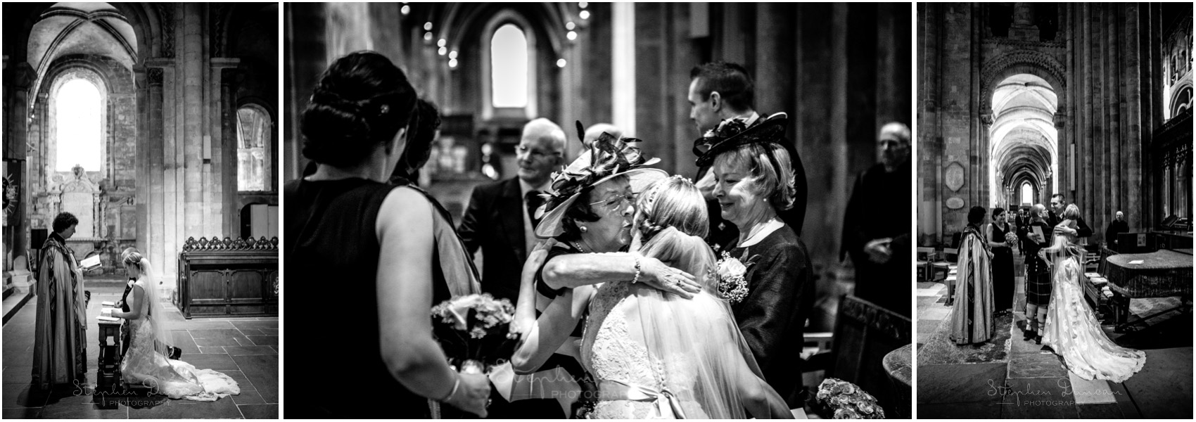 Romsey Abbey wedding photographer guests congratulate the couple