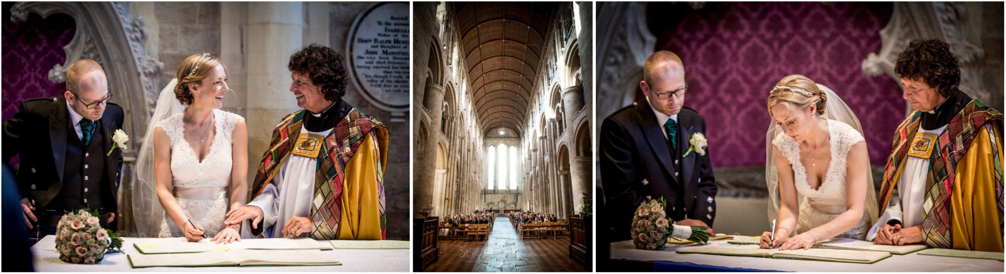 Romsey Abbey wedding photographer signing of the register