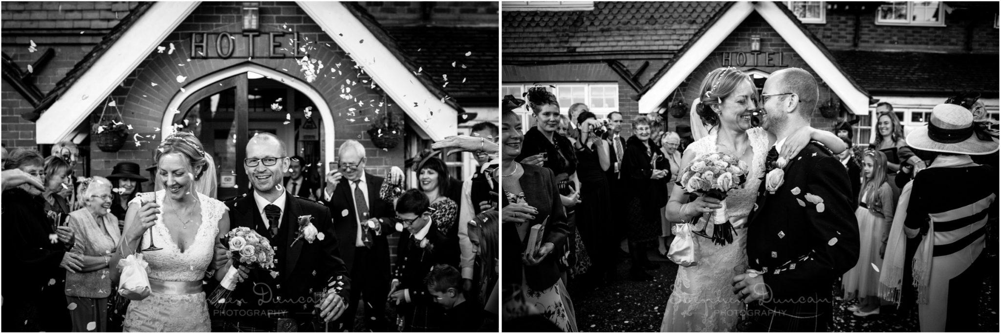 Romsey Abbey wedding photographer black and white confetti photo