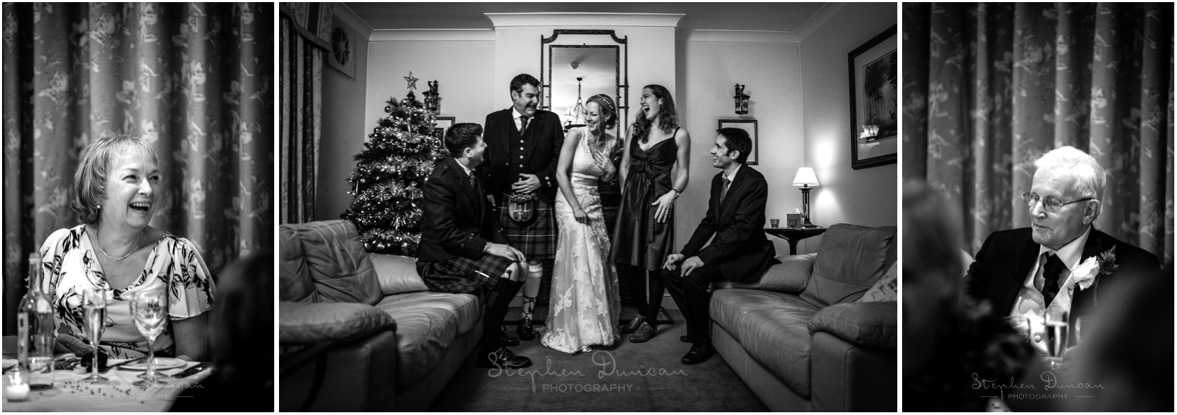 Romsey Abbey wedding photographer bride with guests black and white