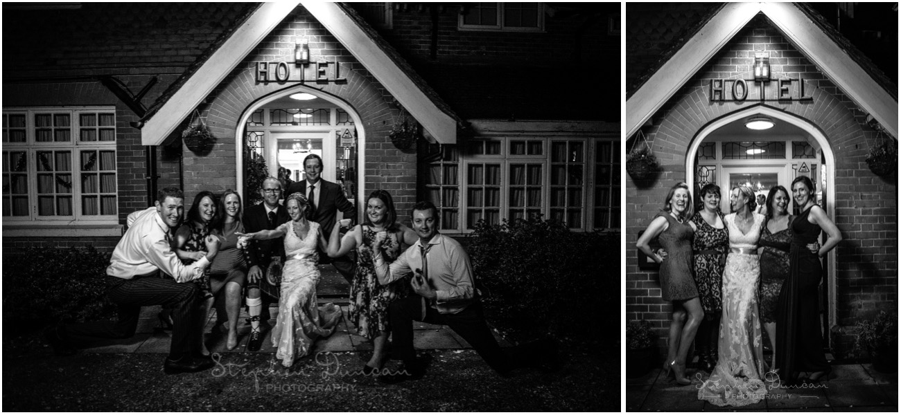 Romsey Abbey wedding photographer bride with guests at night