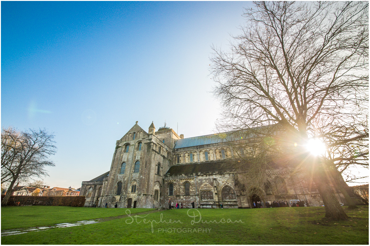 Romsey Abbey wedding photographer church exterior wide angle