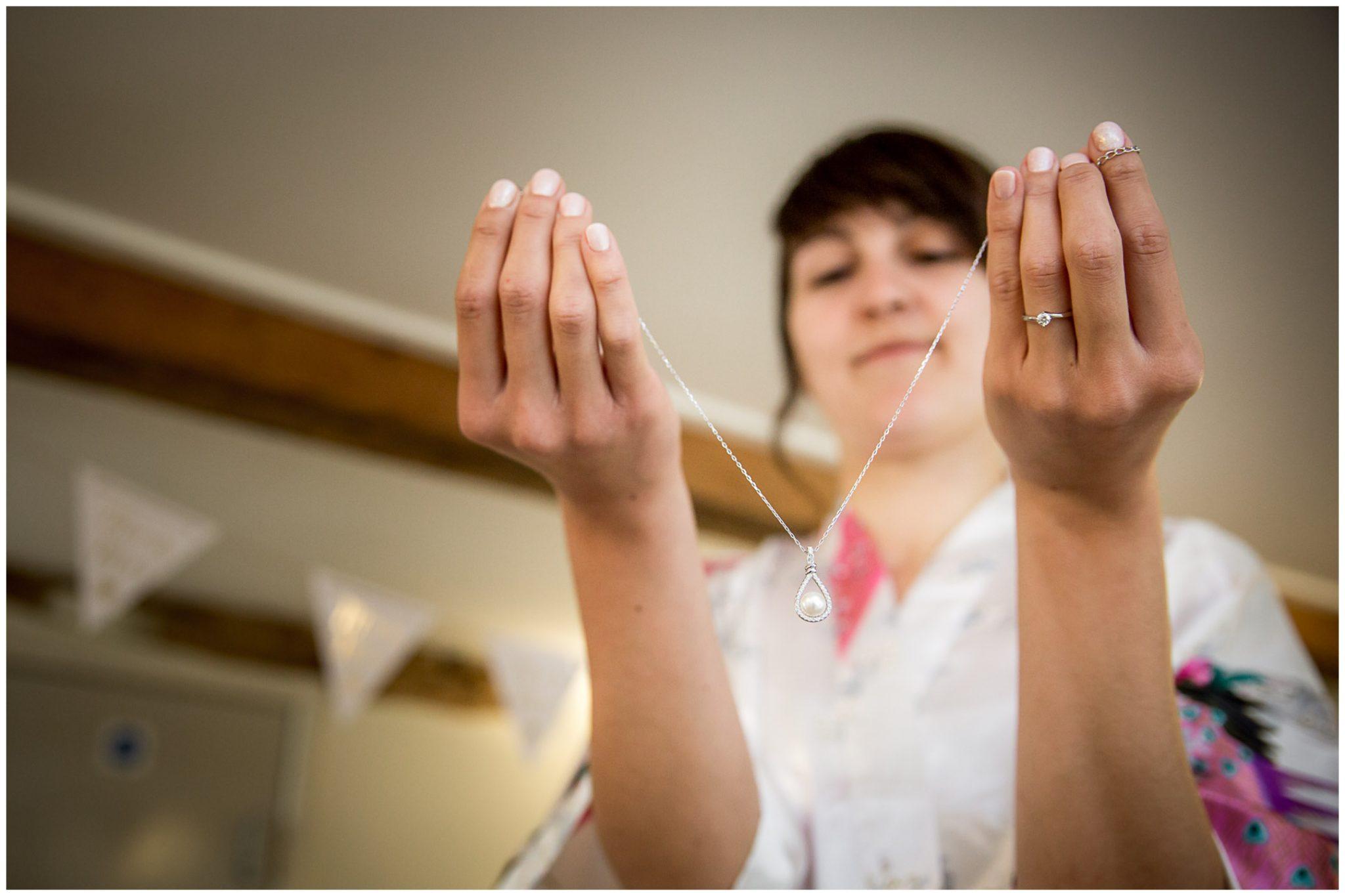 Sopley Mill wedding photography bride with wedding jewellery
