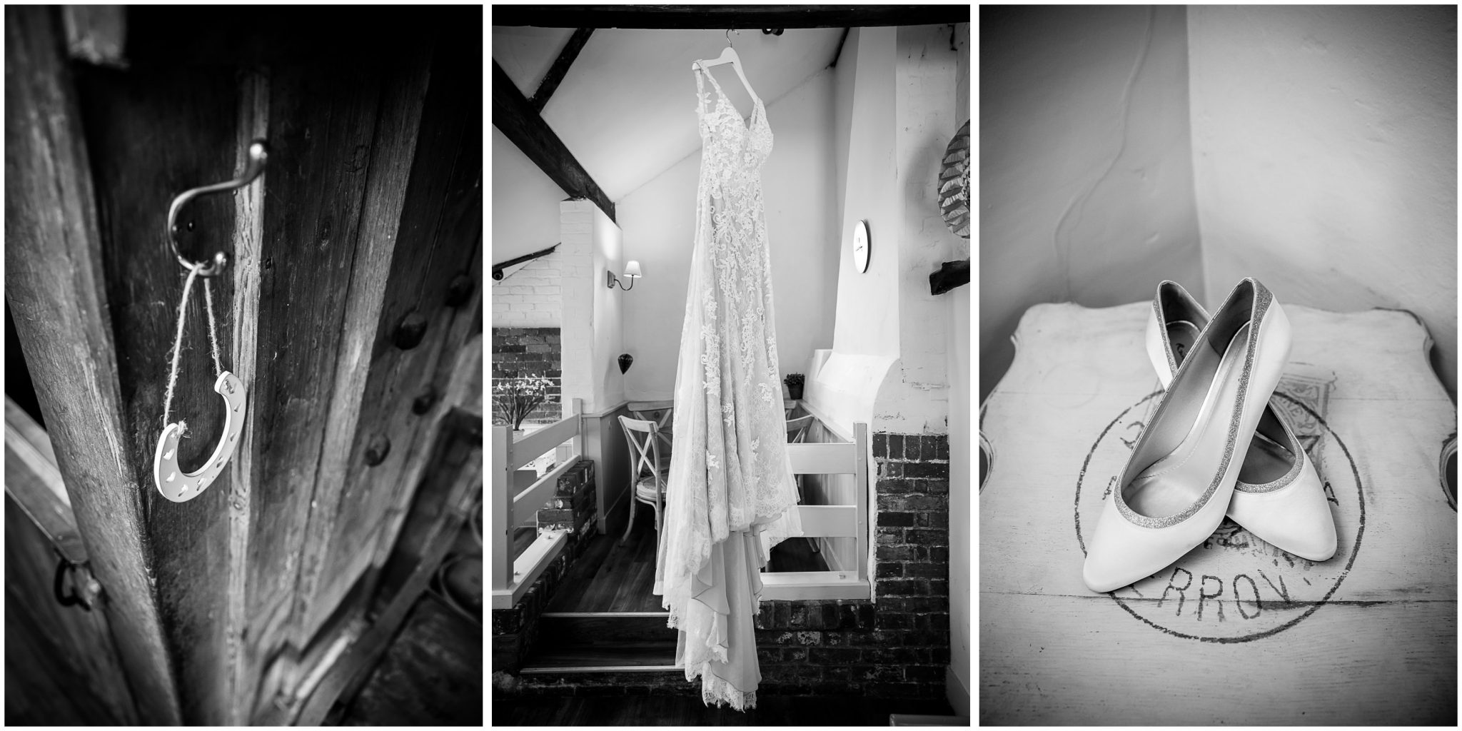 Sopley Mill wedding photography dress and shoe details in black and white