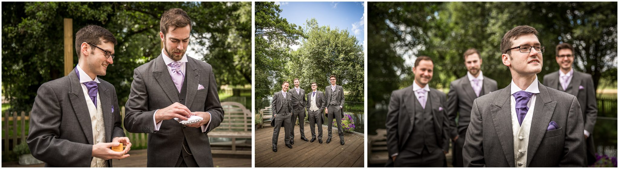 Sopley Mill wedding photography groom with groomsmen on decking