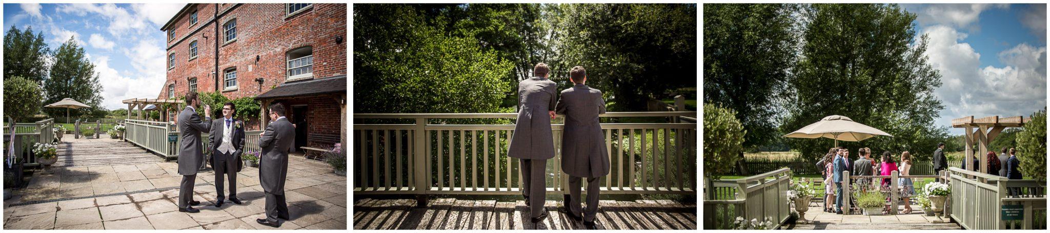 Sopley Mill wedding photography groomsmen await guest arrival