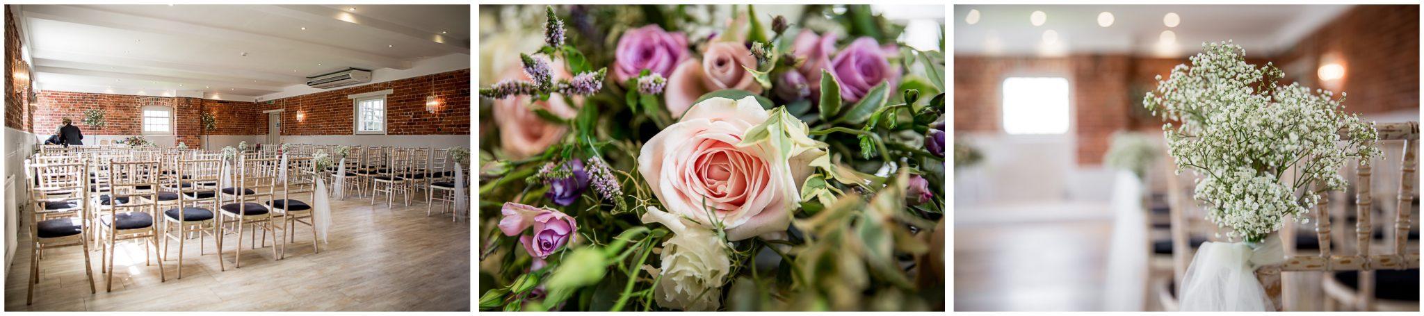 Sopley Mill wedding photography ceremony room set up