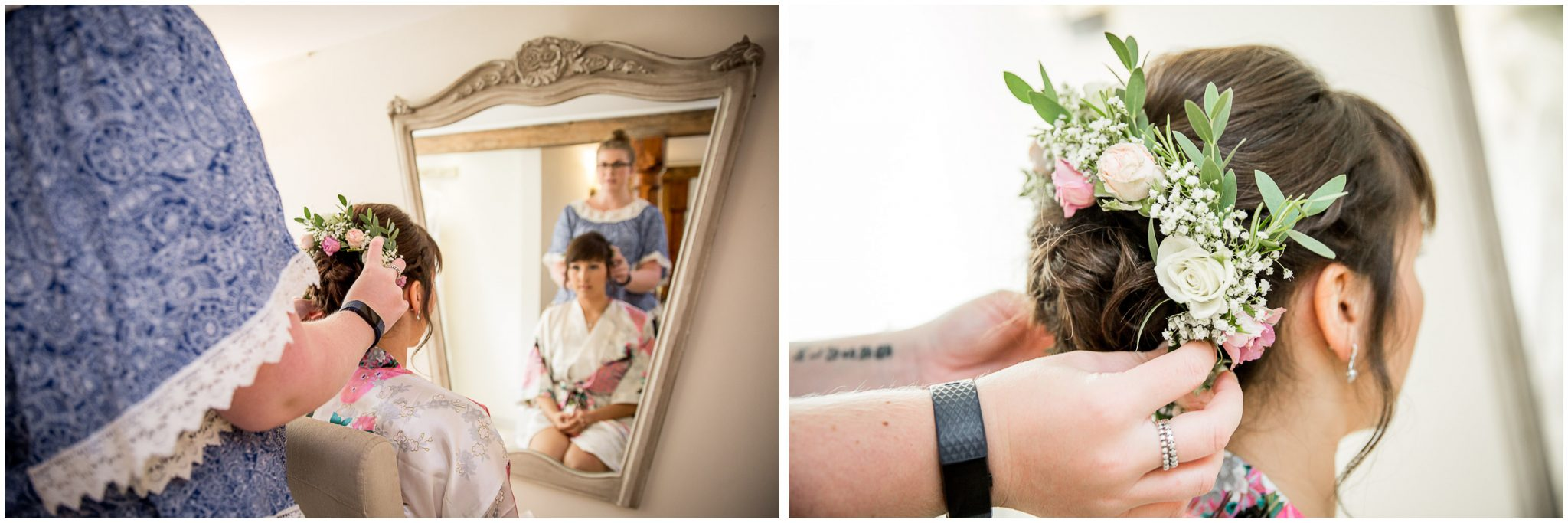 Sopley Mill wedding photography flowers in bride's hair