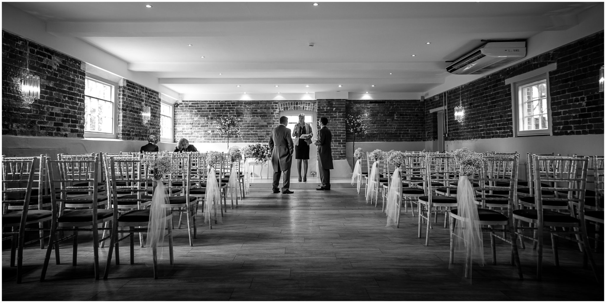 Sopley Mill wedding photography groom and best man before ceremony