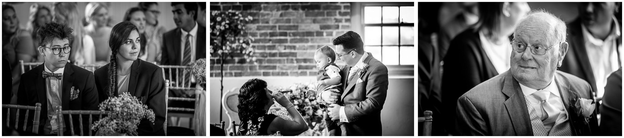 Sopley Mill wedding photography black and white candids of guests taking seats in ceremony room