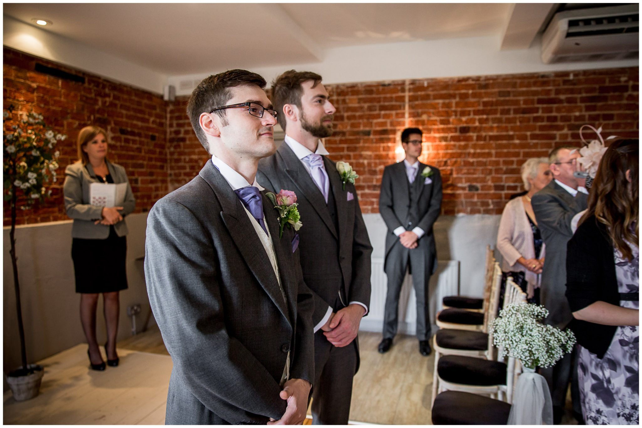 Sopley Mill wedding photography groom ready for arrival of the bride