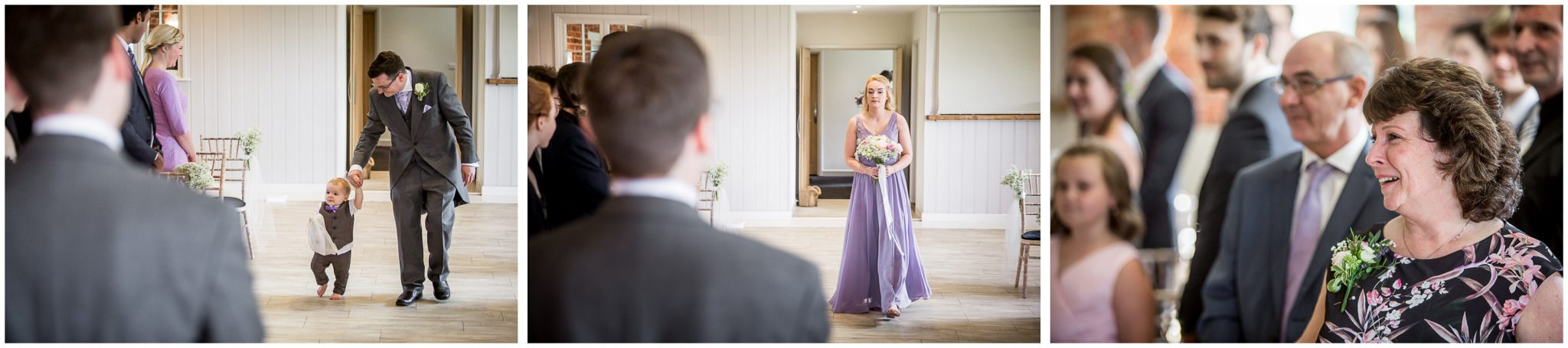 Sopley Mill wedding photography page and bridesmaid walk down the aisle