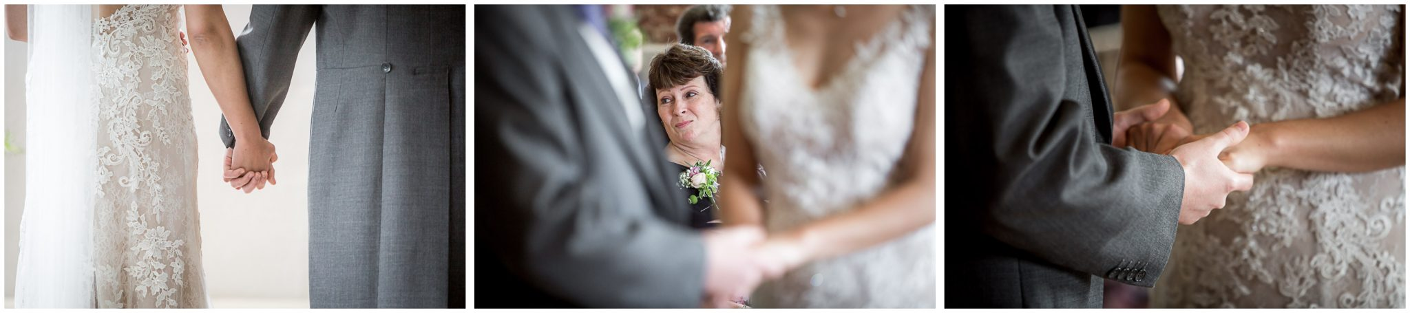 Sopley Mill wedding photography holding hands during ceremony