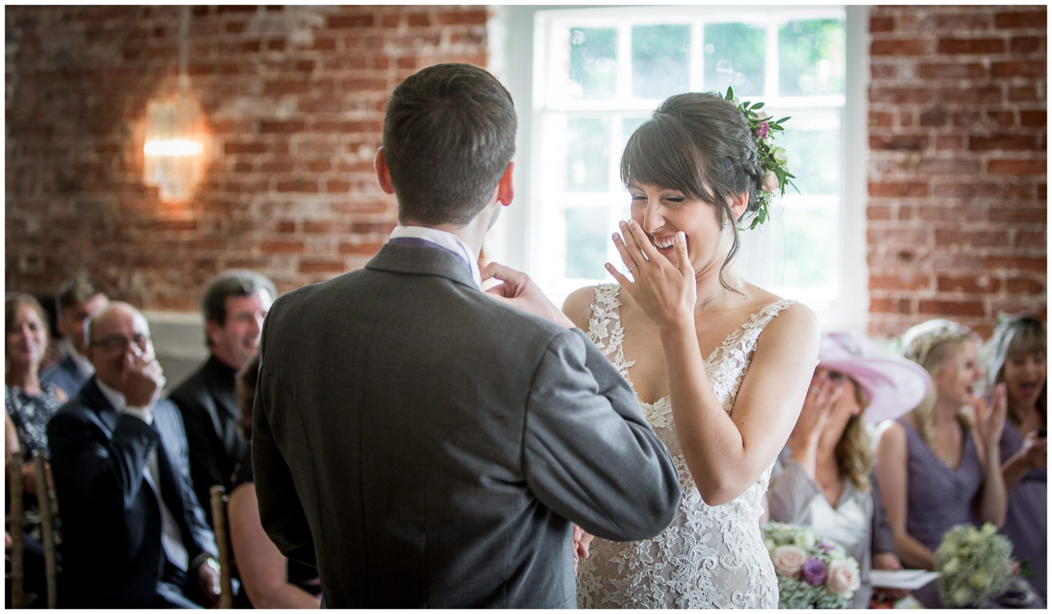 Sopley Mill wedding photography bride laughing