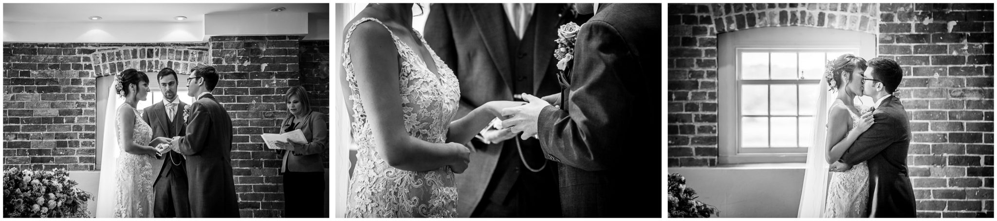 Sopley Mill wedding photography vows, exchange of rings and kiss in black and white