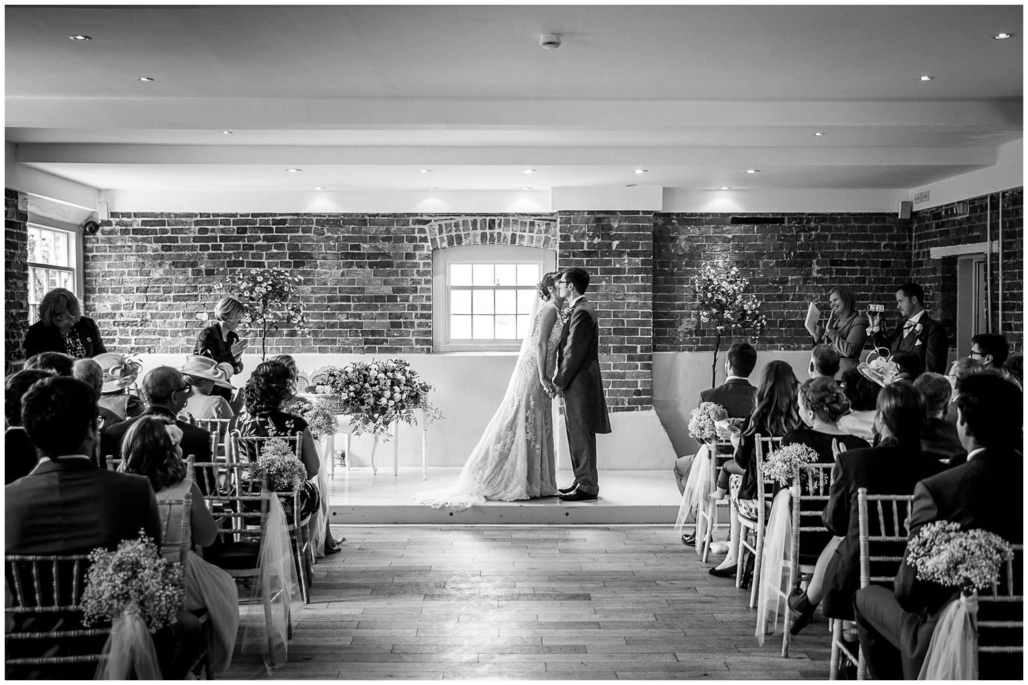 Sopley Mill wedding photography the kiss