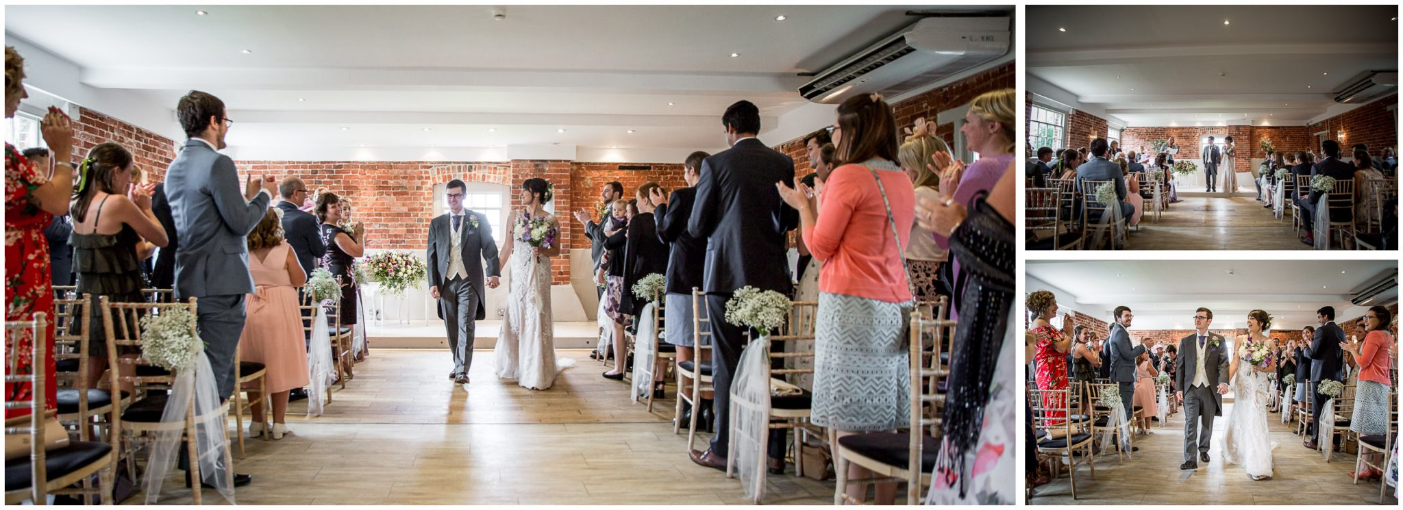Sopley Mill wedding photography newly married couple walk down aisle