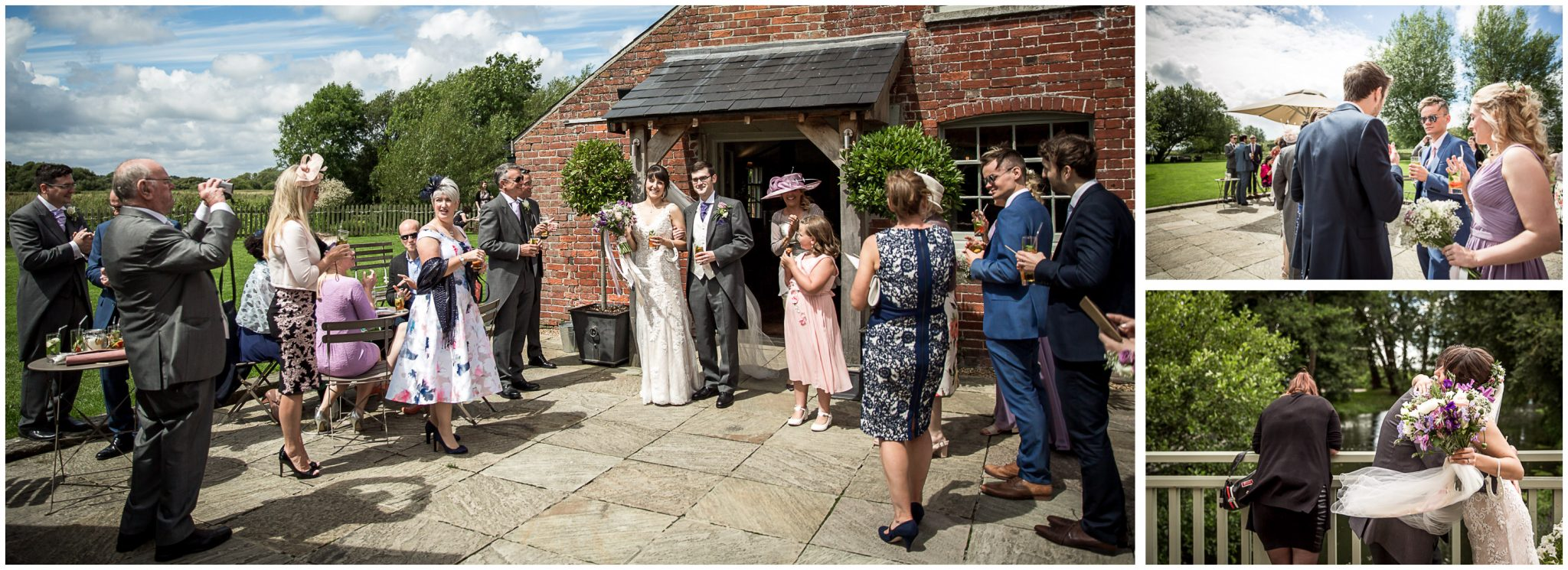 Sopley Mill wedding photography couple emerge from building to be congratulated by guests