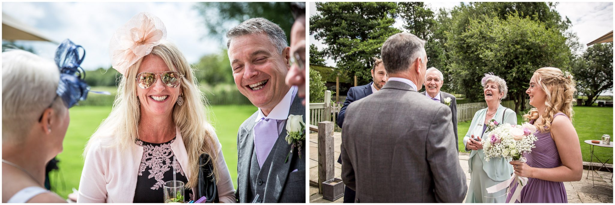 Sopley Mill wedding photography guests in the sunshine