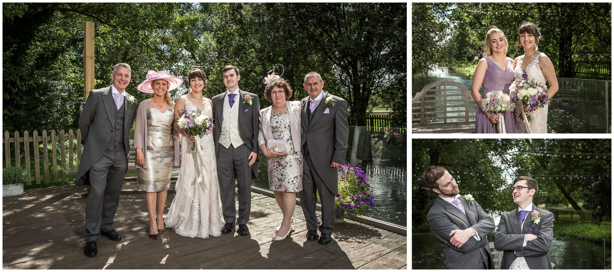Sopley Mill wedding photography group photos on the terrace