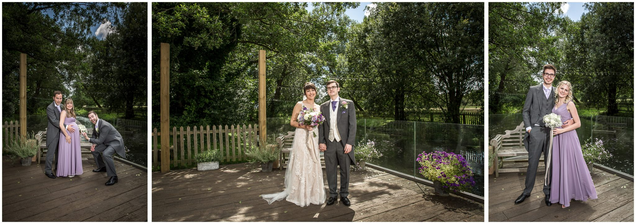 Sopley Mill wedding photography photos on riverside decking