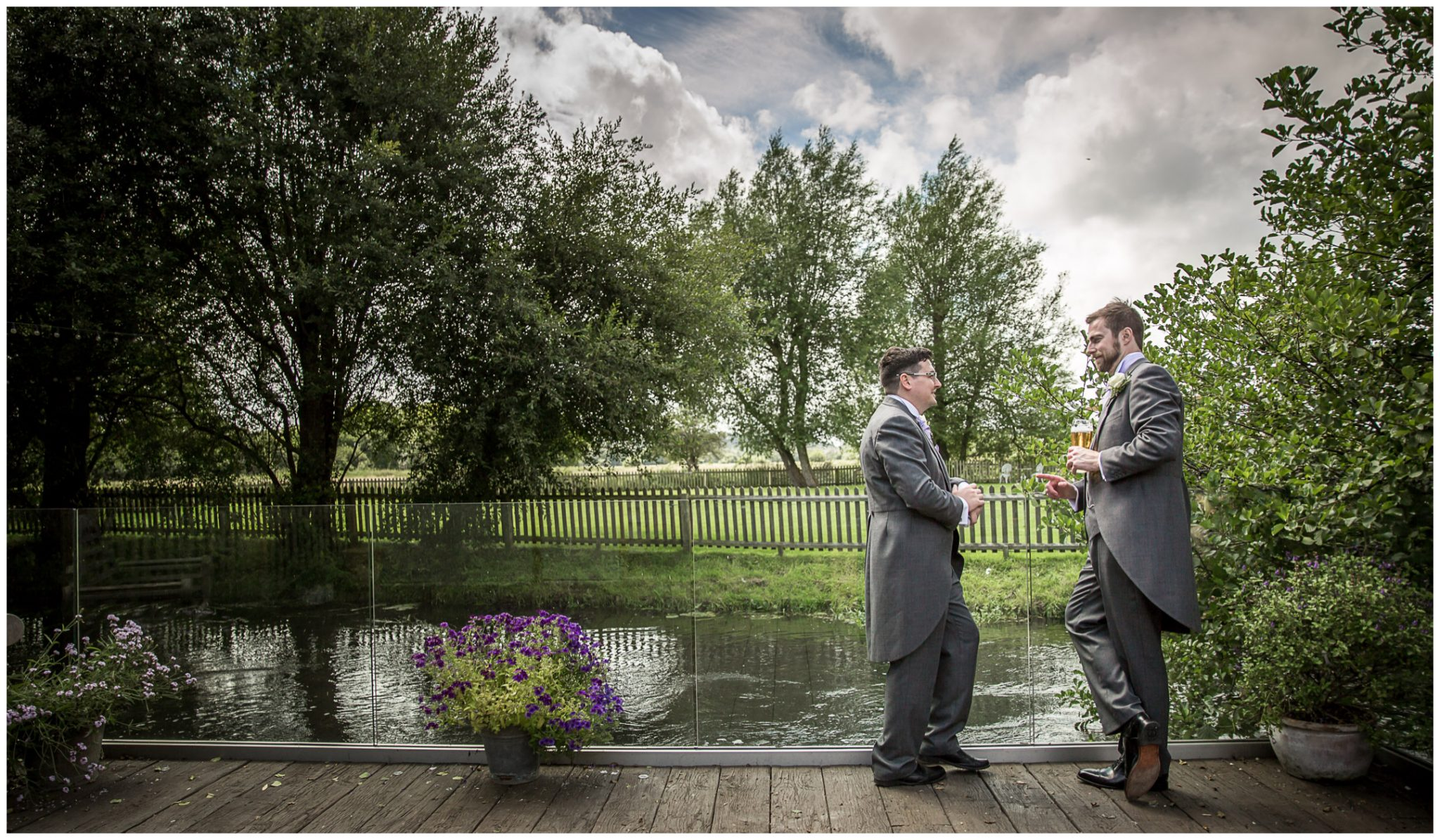 Sopley Mill wedding photography best man and usher by river