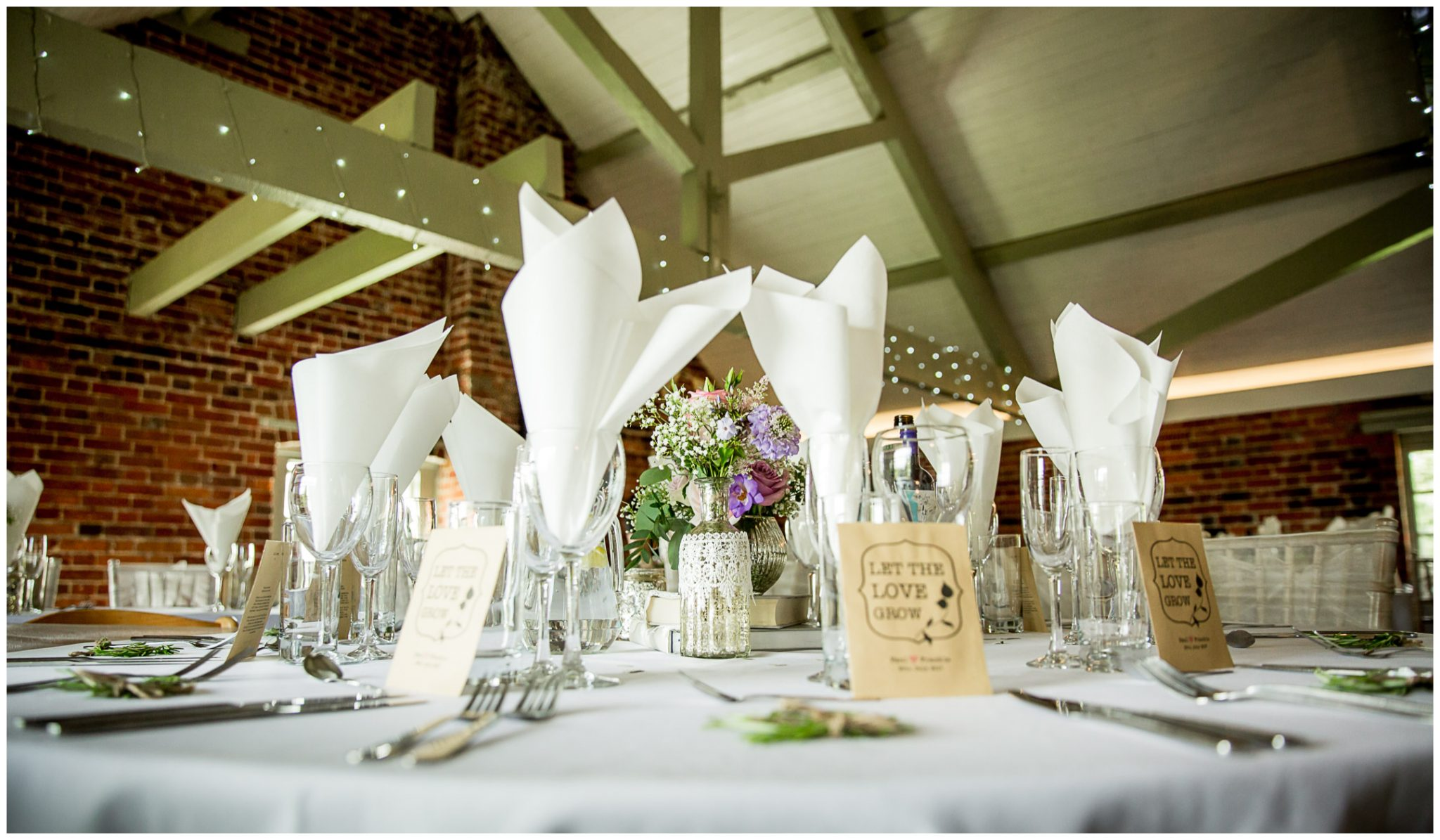 Sopley Mill wedding photography dining room set up