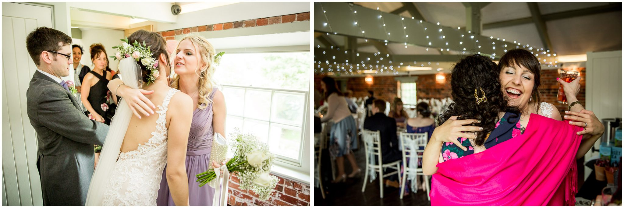Sopley Mill wedding photography hugs and kisses for guests from bride