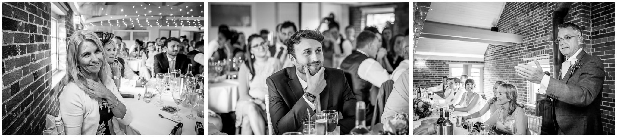 Sopley Mill wedding photography guests watch the start of the speeches
