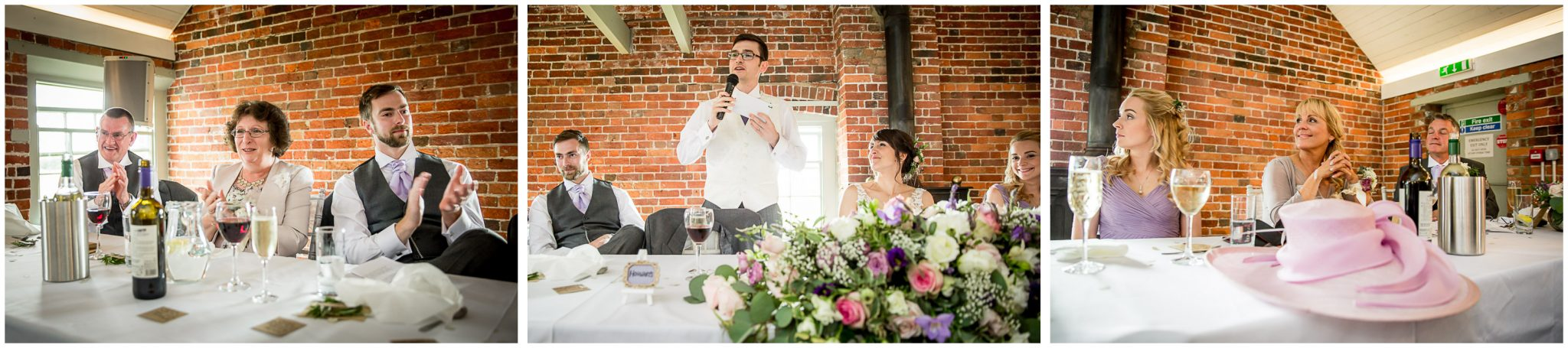 Sopley Mill wedding photography top table applaud's groom's speech