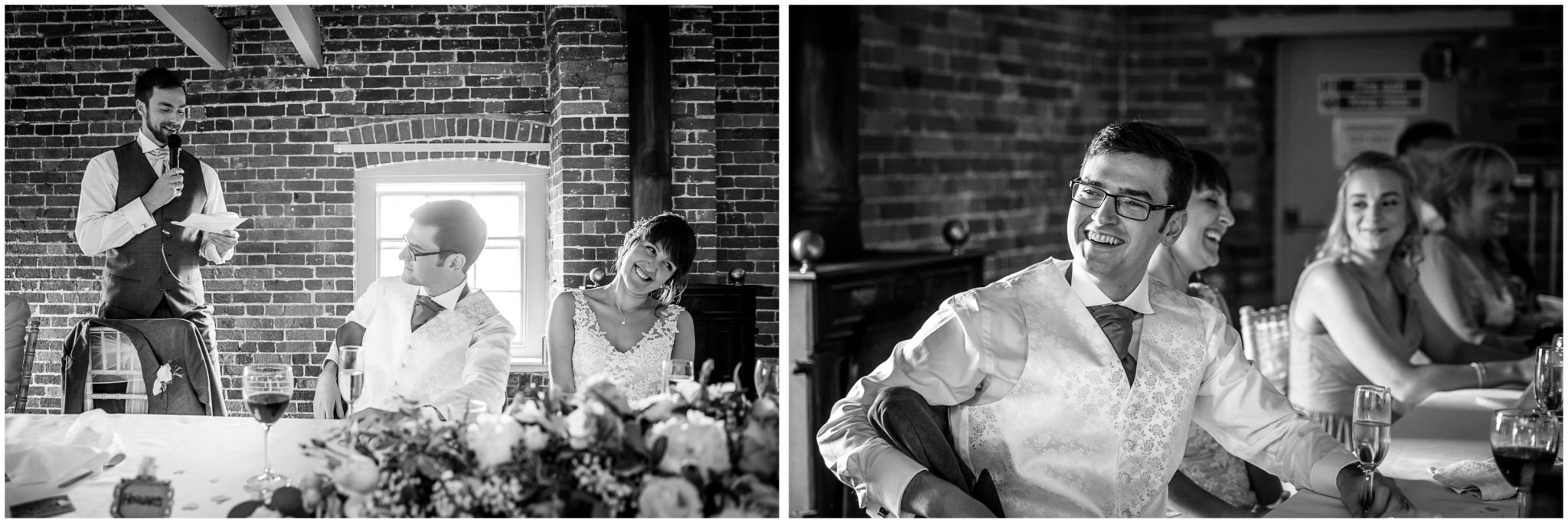 Sopley Mill wedding photography groom laughing at best man's speech