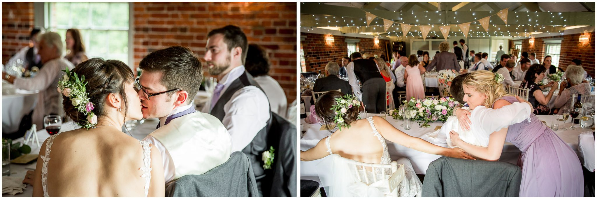 Sopley Mill wedding photography hugs and kisses at end of speeches