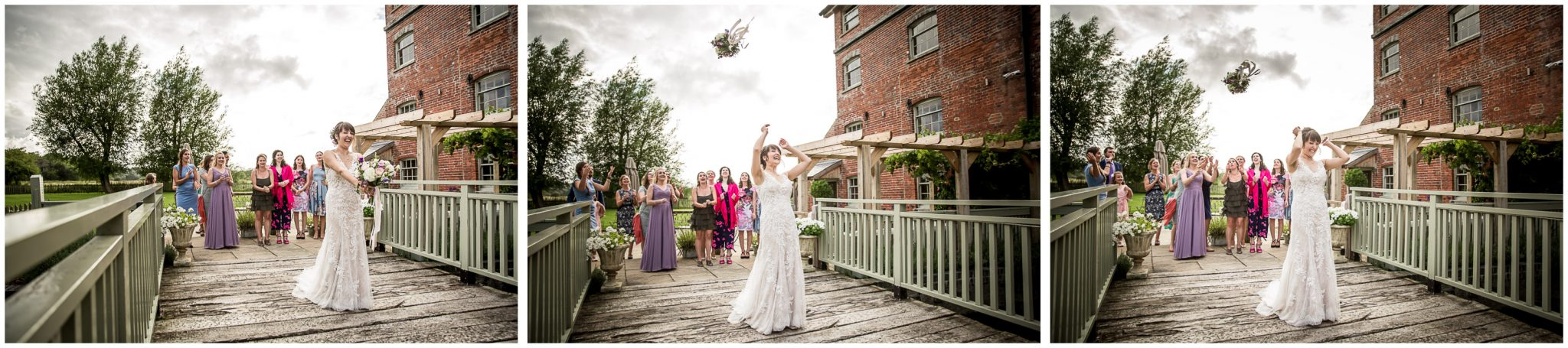 Sopley Mill wedding photography throwing the bouquet sequence of images
