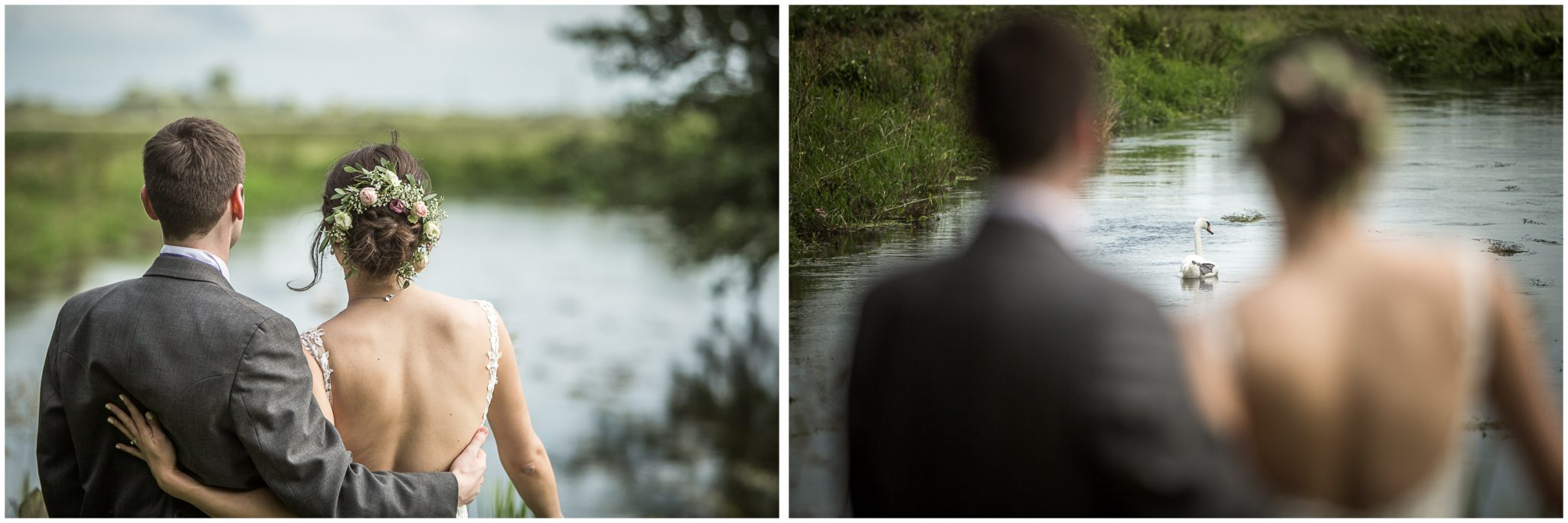 Sopley Mill wedding photography bride and groom look out over river