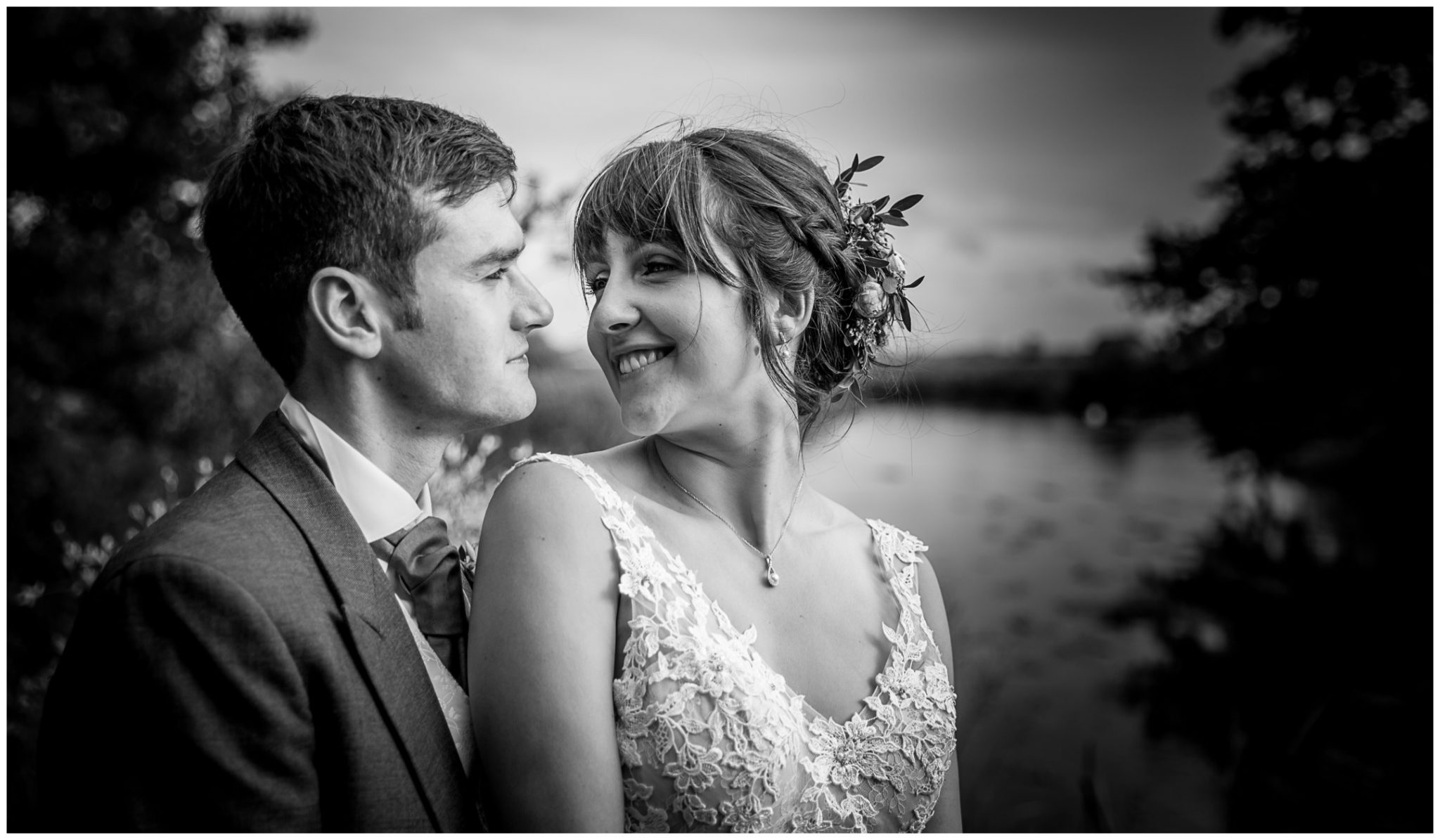 Sopley Mill wedding photography black and white couple portraits bride smiling